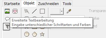 PhotoScape Button Erweiterte Textbearbeitung Eingabe unterschiedlicher Schriftarten und Farben