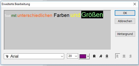 PhotoScape Wörter mit verschiedenen Farben und verschiedenen Textgrößen