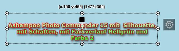 Photo Commander 15 -Texteffekt: Silhouette mit Schatten, mit Farbverlaufsfarbe Hellgrün und mit Farbe 2