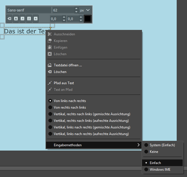 GIMP Eingabemethoden für den Text