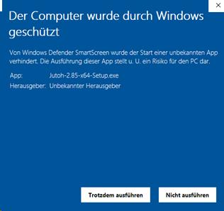Computer wird durch Windows geschützt (Nachricht 2)