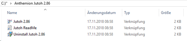 Jutoh Uninstall-Datei im Windows Explorer