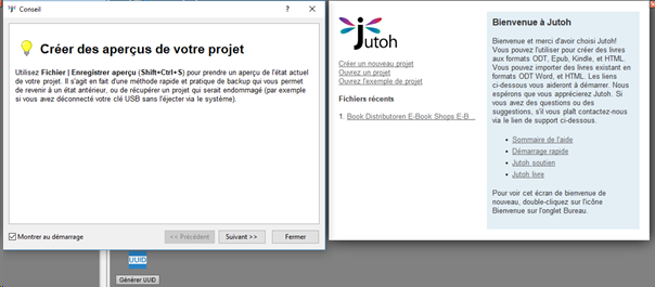 Startbildschirm von Jutoh in französischer Sprache