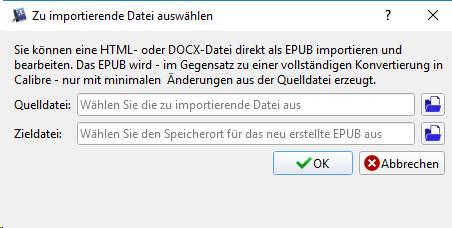 Calibre zu importierende Datei auswählen