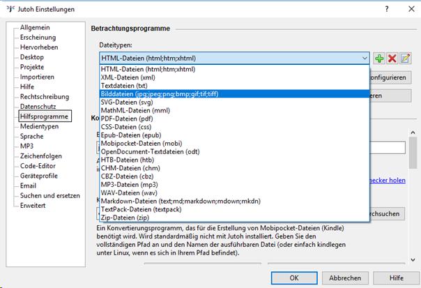 Dateityp für Hilfsprogramme in Jutoh auswählen