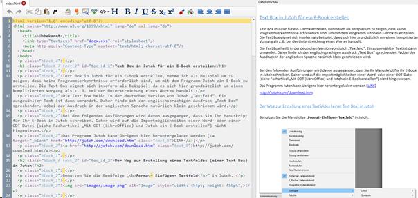 """Manuskript in Calibre jetzt sichtbar nach Doppelklick auf Datei """"index.html"""""""