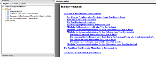 Calibre versus Jutoh - Inhaltsverzeichnis in Jutoh