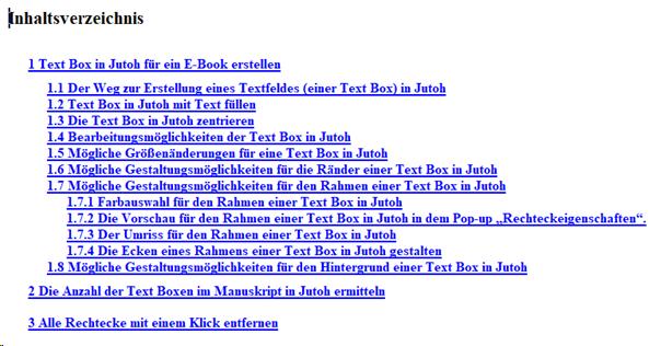 Beispiel für ein nummeriertes Inhaltsverzeichnis in Jutoh