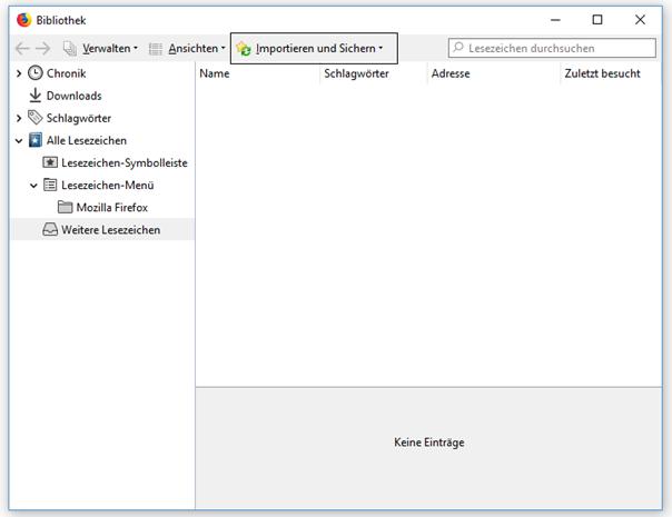 Firefox Importieren und Sichern