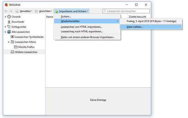Firefox Inportieren und Sichern Datei wählen
