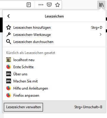 Firefox Lesezeichen verwalten
