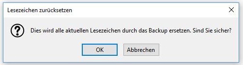 Firefox Lesezeichen zurücksetzen