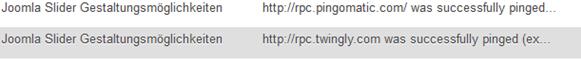 Beispiel für eine gepingte WordPress Seite
