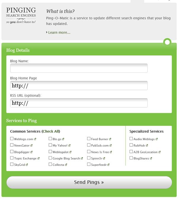 Einstellungen für Pings bei Ping-O-Matic