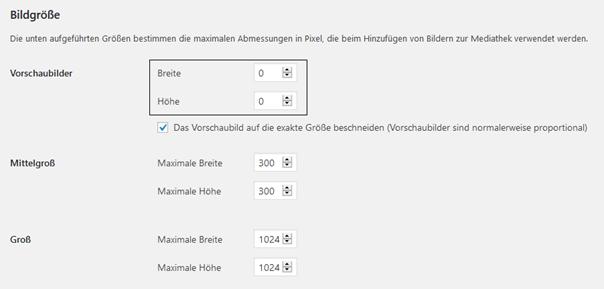 WordPress Änderung des Vorschaubildes von 150*150 auf 0*0