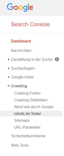 robots.txt-Datei mit Google Search Console überprüfen