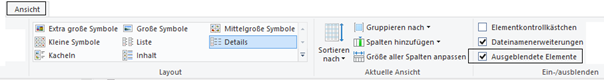 """Windows Explorer Häckchen bei """"Ausgeblendete Elemente"""""""