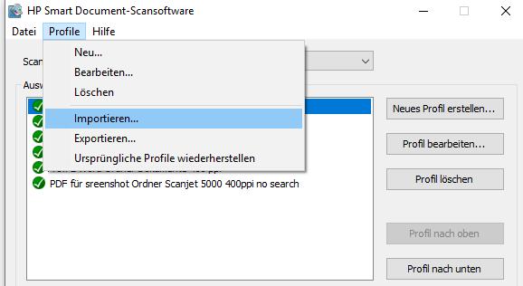Beispiel: Scan-Profile nach einem Festplattenwechsel übernehmen