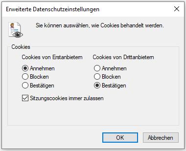 """Internet Explorer Pop-up """"Erweiterte Datenschutzeinstellungen"""""""
