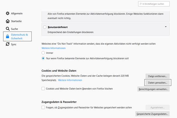 Firefox Daten verwalten