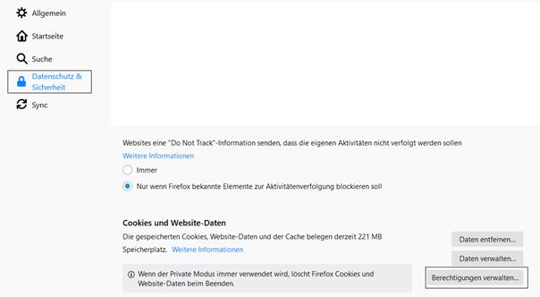 Firefox Berechtigungen verwalten