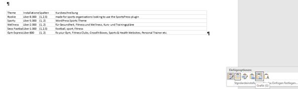 Excel-Tabelle in Word als Grafik eingefügt