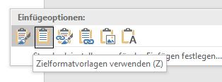 """Excel-Tabelle mit """"Zielformatvorlagen verwenden"""" in Word eingefügt"""