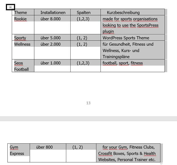 Tabelle in Word auf 2 Seiten verteilt