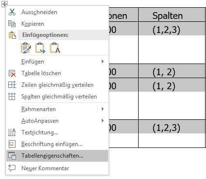 In Word Tabelleneigenschaften auswählen