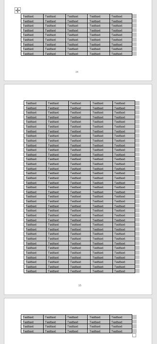Tabelle in Word auf 3 verschiedenen Seiten