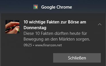 Beispiel für eine Benachrichtigung von Google Chrome