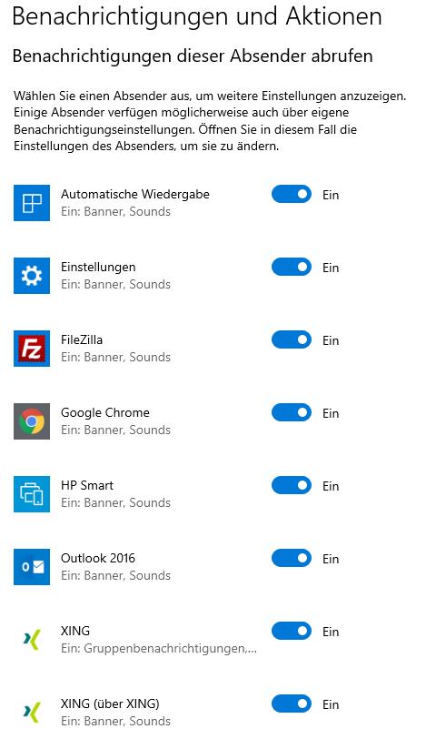 Windows Beachrichtigungen und Aktionen