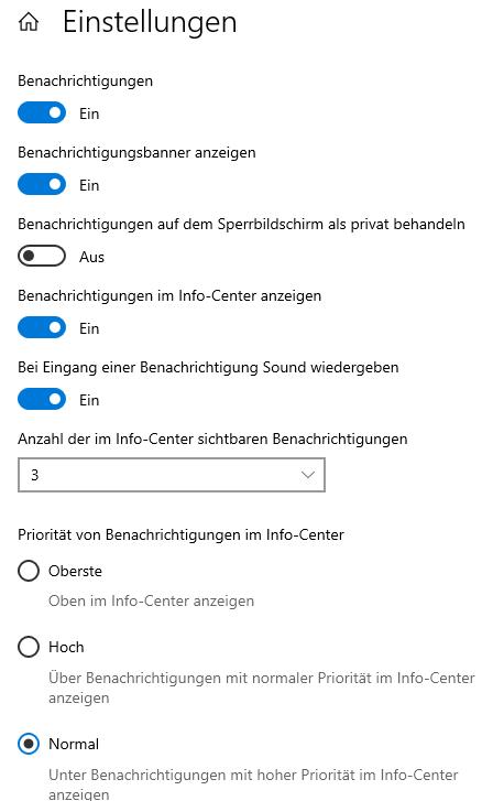 Windows Detaileinstellungen für Benachrichtigungen