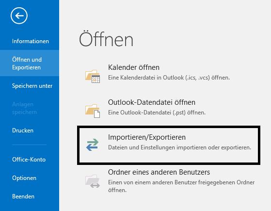 Outlook Importieren/Exportieren