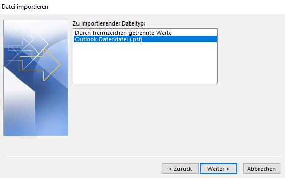 Outlook Datei importieren