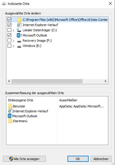 Windows 10 Indizierung Indizierungsorte hinzufügen