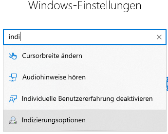Windows-Einstellungen Indizierungsoptionen