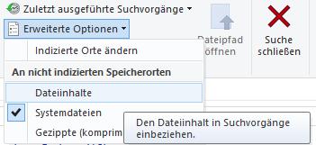 Windows Explorer Dateiinhalt in Suche einbeziehen