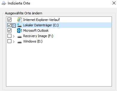 Windows 10 Einzelne Verzeichnise für die Indizierung auswählen