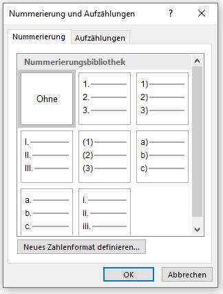 Formatvorlage für Überschift ohne Nummerierung