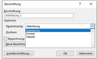 Word Standardbezeichnungen für Beschriftungen