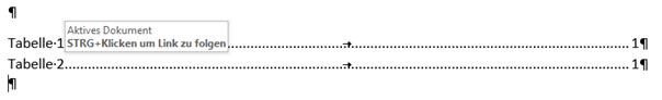 Word Vom Tabellenverzeichnis auf die Tabellenbeschriftung springen
