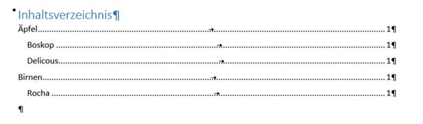 Word Inhaltsverzeichnis ohne Gliederungsnummern