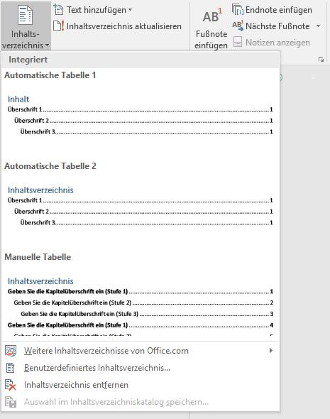Vorschläge von Word für Inhaltsverzeichnisse ohne Gliederungsnummern