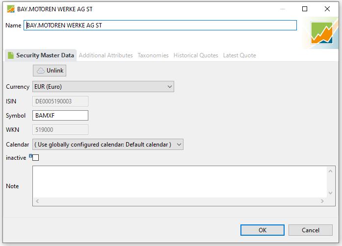 Portfolio Performance zieht sich automatisch die Stanmmdaten des Wertpapiers