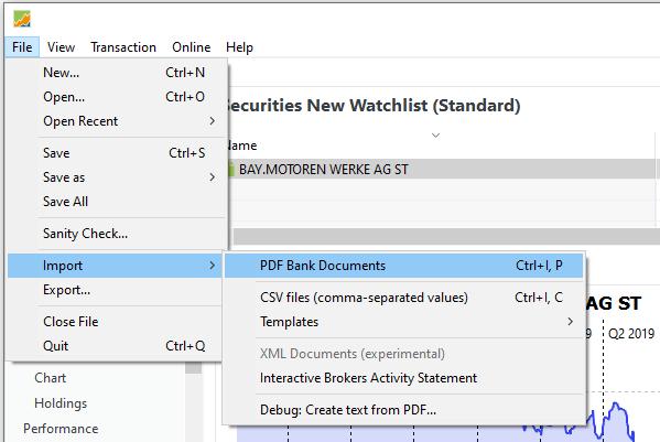 PDF Bankdokumente in Portfolio Performance importieren
