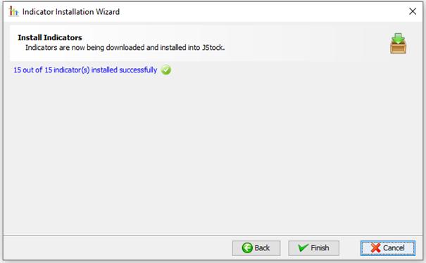 Indikatoren von JStock sind heruntergeladen und installiert