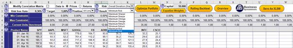 Bereits vorhandene Daten in der Datei Portfolio_Optimization.xls