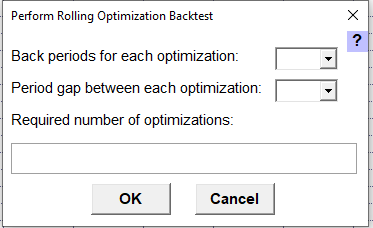 Pop-up Perform Rolling Optizimation Backtest