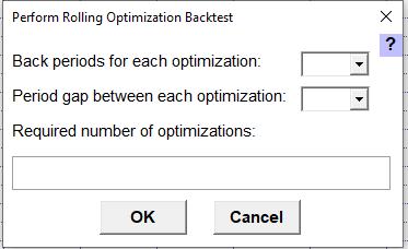 Pop-up Perform Rolling Optizimation Backtest